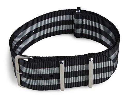 BluShark - 22mm Black and Gray Striped Nylon Watch Strap - James Bond Strap (Strap Watch Shark compare prices)