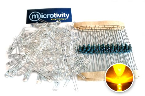 Microtivity Il422 5Mm Clear Yellow Led W/ Resistors (Pack Of 100)