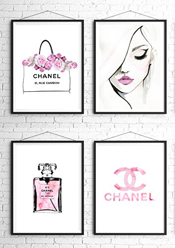 8 5x11 Set Of 4 Coco Chanel Logo Splash Black Watercolor