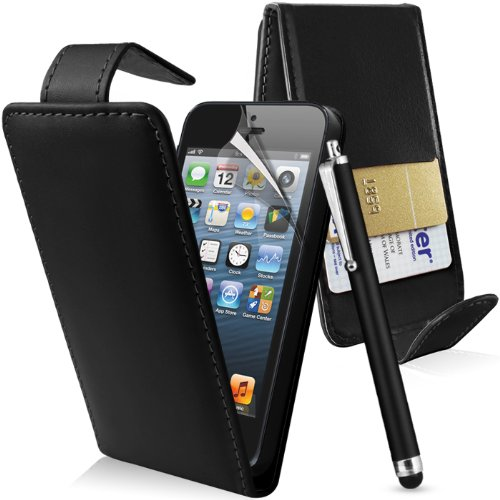 Supergets® Apple Iphone 5 Premium Black Top Flip PU Leather Case, Screen Protector, Capacitive Touch Screen Stylus