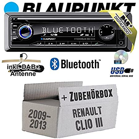 RENAULT CLIO 3 FL - Blaupunkt Stockholm 230 DAB - DAB +/CD/MP3/USB Kit de montage autoradio avec Bluetooth -