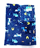 momspet dark blue colour baby mink blanket