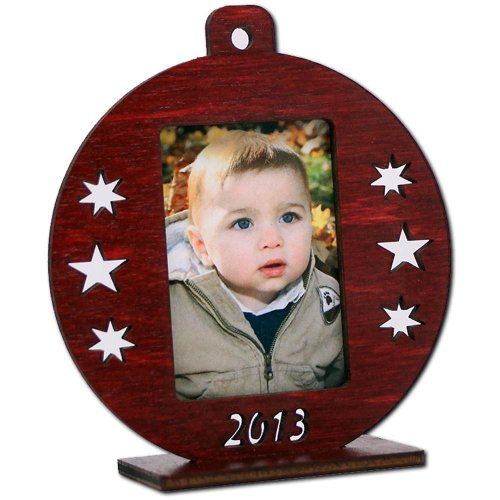 Handcrafted Wood Christmas Mini Photo Picture Frame Ornament Ball Red front-414798