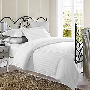 Ellington Home 1800 Series 3 Piece Damask Stripe Duvet Cover Set (Full/Queen, White)