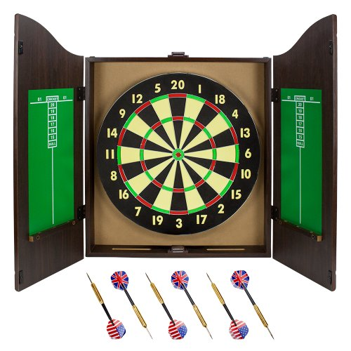 Best Prices! Triple Out Darts Walnut Dartboard Cabinet Set with 6 Brass Darts and Board