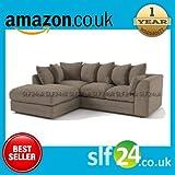 Porto Byron Jumbo Full Cord Corner Sofa Fabric, Settee in Beige Left or Righ Hand (choice) (Left Hand Corner), width 212cm