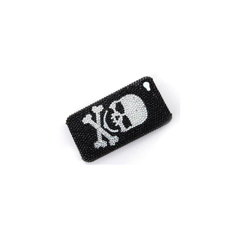 Black White Skull Cross Bone iPhone 4S 4 Case Cover Swarovski Crystal Rhinestone