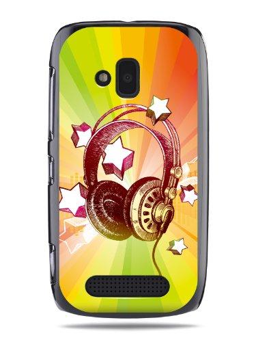 "Grüv Premium Case - ""Colorful Music Dj Headphones & Stars"" Design - Best Quality Designer Print On Black Hard Cover - For Nokia Lumia 610"