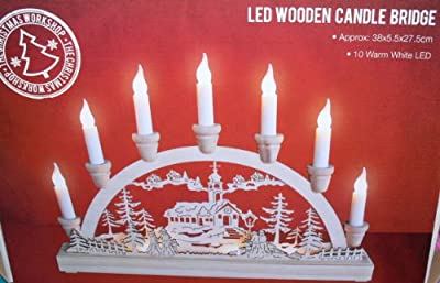 The Benross Christmas Workshop 10 LED Battery Operated Wooden Candle Bridge Light from Benross Group