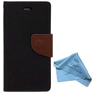 CZap Mercury Diary Goospery Card Wallet Flip Cover Back Case for InFocus M2 - Brown Black