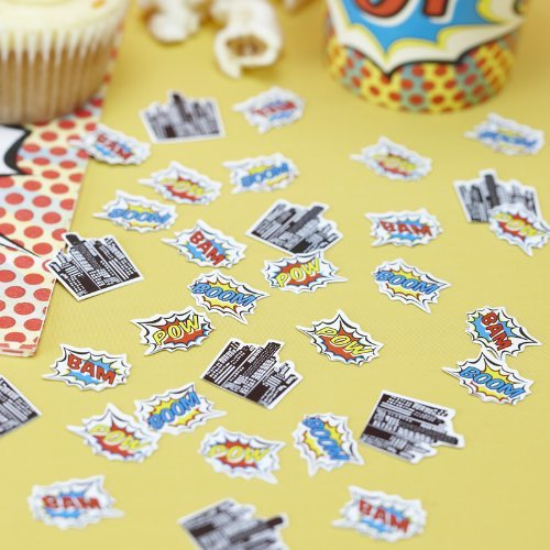 Ginger Ray Pop Art Superhero Birthday Decorations Table Party Confetti, Mixed