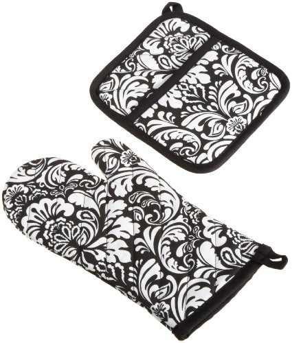 DII 100% Cotton, Machine Washable, Everyday Kitchen Basic, Damask Printed Oven Mitt and Potholder Gift Set, Black