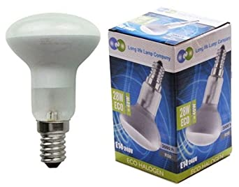 5 R50 Reflector Halogen Energy Saving 28w Equivalent 40w Dimmable light bulbs E14 Edison SES by Long Life Lamp Company Pack of 5
