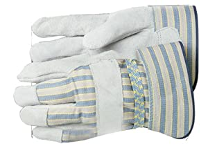 Bon 14-442 Leather Palm Work Gloves with Safety Cuff, Large, 1-Pair