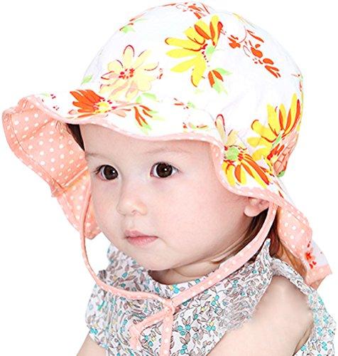 Little Girls Babies Sun Play Wide Brim Hat UPF 50 Beach Hat Orange (Kids Graduation Hat)
