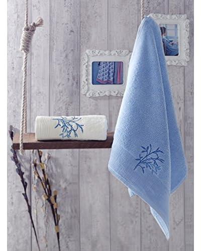 Homemania Set Asciugamano 2 pezzi Februs Blu 50 x 90 cm
