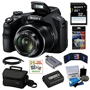 Sony Cyber-shot DSC-HX200V 18.2MP Exmor R CMOS Digital Camera with 30x Optical Zoom and 3.0-inch LCD + Sony 32GB SD Card + Sony Case + Replacement Battery Pack + Mini HDMI Cable + Accessory Kit