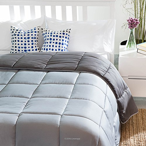 LINENSPA Reversible Down Alternative Quilted Comforter with Corner Duvet Tabs - Stone/Charcoal - Full (Reversible Comforter Full compare prices)