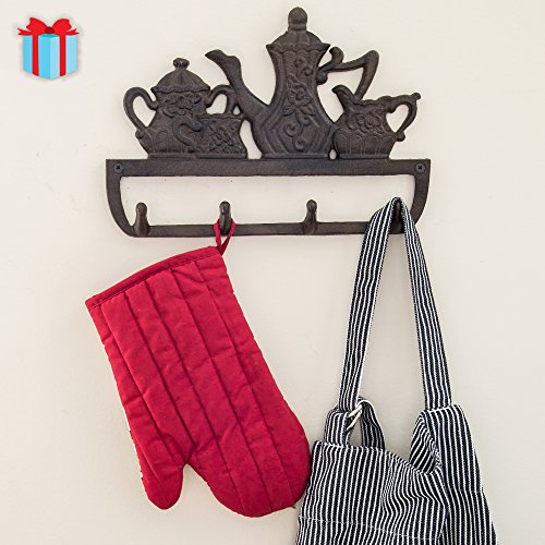 Decorative Cast Iron Kitchen Storage Towel Rack | Old Fashioned Tea Pot With 4 Hooks - Wall Mounted Towel Hanger | - 11.8 x 7.9