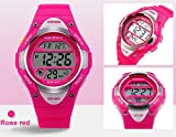 Kids LED Digital Unusual Sports Outdoor Childrens Wrist Dress Waterproof Watch with Silicone Band, Alarm, Stopwatch for Girls - Rose Red