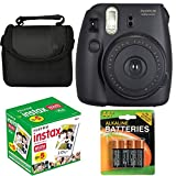 Fujifilm Instax Mini 8 Instant Film Camera (Black) With Fujifilm Instax Mini 5 Pack Instant Film (50 Shots) + Compact Bag Case + Batteries Top Kit (Import No us Warranty)