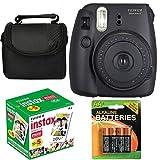 Fujifilm Instax Mini 8 Instant Film Camera (Black) With Fujifilm Instax Mini 5 Pack Instant Film (50 Shots) + Compact Bag Case + Batteries Top Kit (Import No us Warranty)
