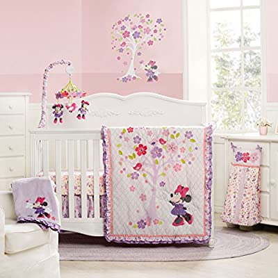 4 Piece Love Blossoms Baby Minnie Mouse Crib Bedding Set