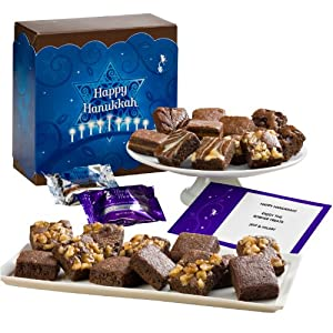 Fairytale Brownies Hanukkah Half Sugar-Free Morsel 24 Gift Box by Fairytale Brownies