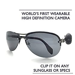 WORLD'S FIRST WEARABLE SUNGLASS/SPECS ACTION HD CAMERA - 720P RECORDING, EXTERNAL STORAGE, INBUILT BATTERY, AUDIO RECORDING - CLIPS TO ANY SUNGLASS/SPECS, BEST HANDSFREE VIDEO AUDIO RECORDING DEVICE