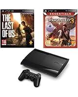 Console PS3 Ultra slim 12 Go noire + The Last of Us - édition jeu de l'année + Uncharted 3 : l'illusion de Drake - essentiels