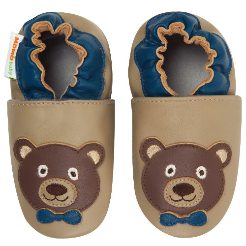Momo Baby Infant/Toddler Teddy Bear Taupe Soft Sole Leather Shoes - 18-24 Months/6-7 M Us Toddler front-1068694