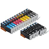 Skia Ink Cartridges ® 18 Pack Compatible with Canon 250 / 251(PGI-250BK CLI-251BK CLI-251C CLI-251M CLI-251Y CLI-251GY) for PIXMA iP8720, PIXMA MG6320, PIXMA MG7120. 3 of each with gray.