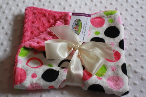 "Minky Blanket - Hot Pink, Baby Pink, Lime Green And Black Circle Print Minky With Hot Pink Minky Dot - Small Newborn/Security Blanket (@17""X19"")"