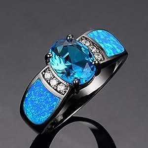 Opal Rings 14KT Black Gold FilledEngaget Ring anel feminino: Jewelry