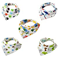 Leewin Baby Bandana Bibs 5-Pack Absorbent Cotton Cartoon Patterns with Adjustable Snap Closure for Boys & Girls Unisex Baby Shower Gifts by Leewin