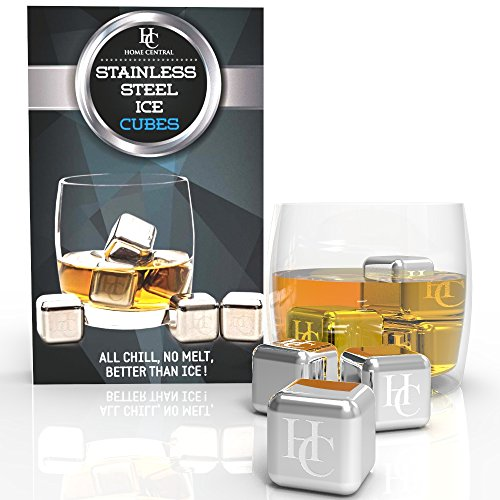 Stainless Steel Ice Cubes by Home Central - Set of 6 Reusable Whiskey Stones Rocks - Best Beverage Cooler: Whiskey, Scotch, Vodka, Wine Chiller (Round Rolling Beverage Cooler compare prices)