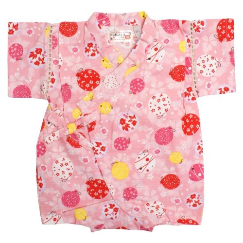 甚平 ロンパース ベビー 女の子 綿100% 日本製生地 水風船 和柄 じんべい ロンパース 甚平 ピンク 70cm