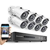 Amcrest HD 720P 8CH Video Security System - Eight 1280TVL 1.0-Megapixel Weatherproof IP66 Bullet Cameras, 65ft IR LED Night Vision, 2TB HDD, HD Over Analog/BNC, Smartphone View (White)