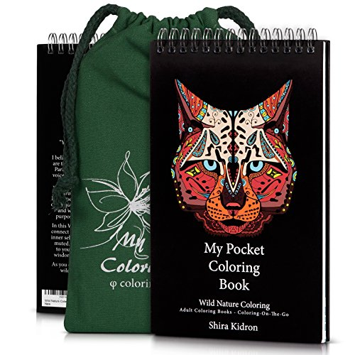 Adult Coloring Books - Coloring-On-The-Go -Wild Nature, Come With Durable Designed Pouch & Hardcover Spiral Bound Format So You Can Easy Carry and Color It Anywhere. Beautiful DIY Adult Creative Kit (Zodiac Super Sea Wolf compare prices)