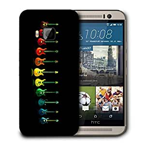 Snoogg Colorful Guitars Designer Protective Back Case Cover For HTC ONE M9