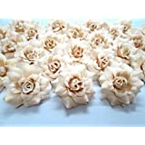 "(100) Silk Cream Roses Flower Head - 1.75"" - Artificial Flowers Heads Fabric Floral Supplies Wholesale Lot for Wedding Flowers Accessories Make Bridal Hair Clips Headbands Dress"
