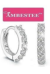 AMBESTEE Women Girls Fashion Jewelry 925 Diamond Rhinestones Sterling Silver Earrings Studs Set ¡