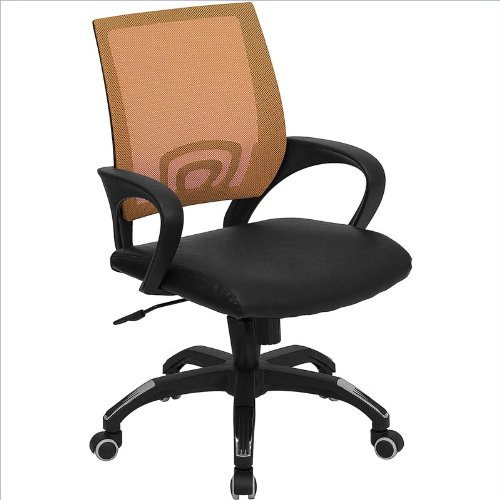 Flash Furniture CP-B176A01-ORANGE-GG Mid-Back Orange Mesh Computer Chair with Black Leather Seat