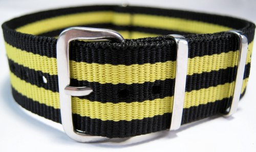 G10 Nato Military Black And Yellow Stripe Watch Strap Band 22mm