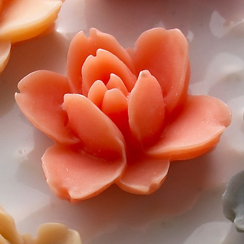 Websters Pages Whimsies Resin Embellishment Pieces Lotus Flower Blooms Coral