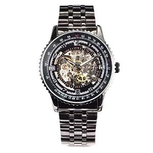 SKELETON STEAMPUNK Black Gold Stainless Steel Mechanical Wristwatch + Gift Box USA Stock