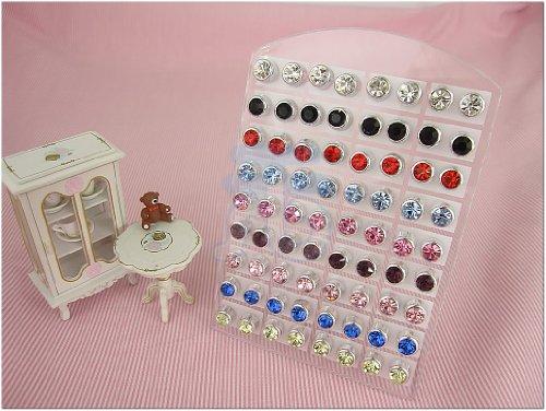 6mm Color Crystal Jewellery Stud Earrings, Pack of 36 Pairs