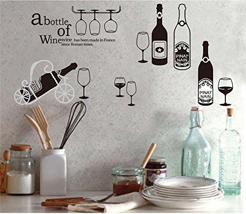 ufengke® Vino Personalizzato e Bicchiere di Vino Adesivi Murali, Sala da Pranzo Cucina Adesivi da Parete Removibili/Stickers Murali/Decorazione Murale