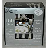 """Reflections Heavyweight """"Looks Like Silver"""" Disposable Flatware for 40 with BONUS Pack of 40 Forks - 160 Pieces in All"""