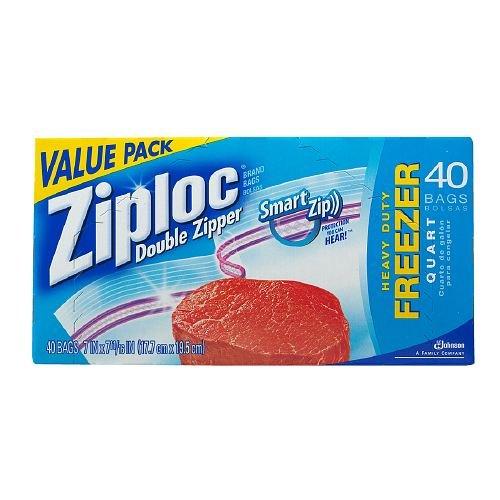 Ziploc Double Zipper Freezer Bags Value Pack,, Quart Size 40 Ea